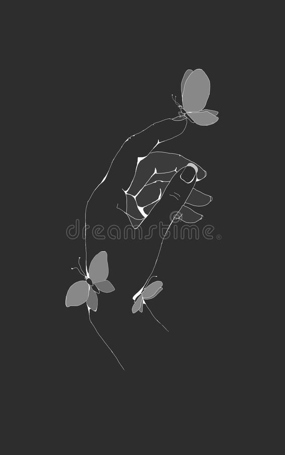 рука при бабочки сидя на ей стоковое изображение
