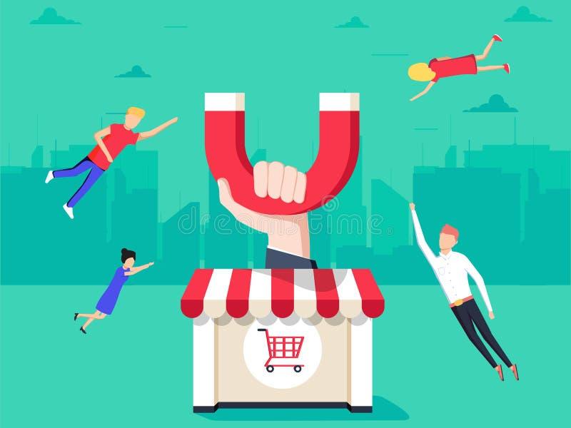 Рука при магнит привлекая клиентов к магазину с магазинными тележкаами бесплатная иллюстрация