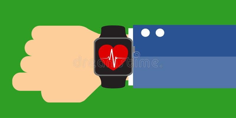 Рука при умный вахта показывая знак сердцебиения Измеряя тариф сердца, умный телефон, применение twatch Smar бесплатная иллюстрация