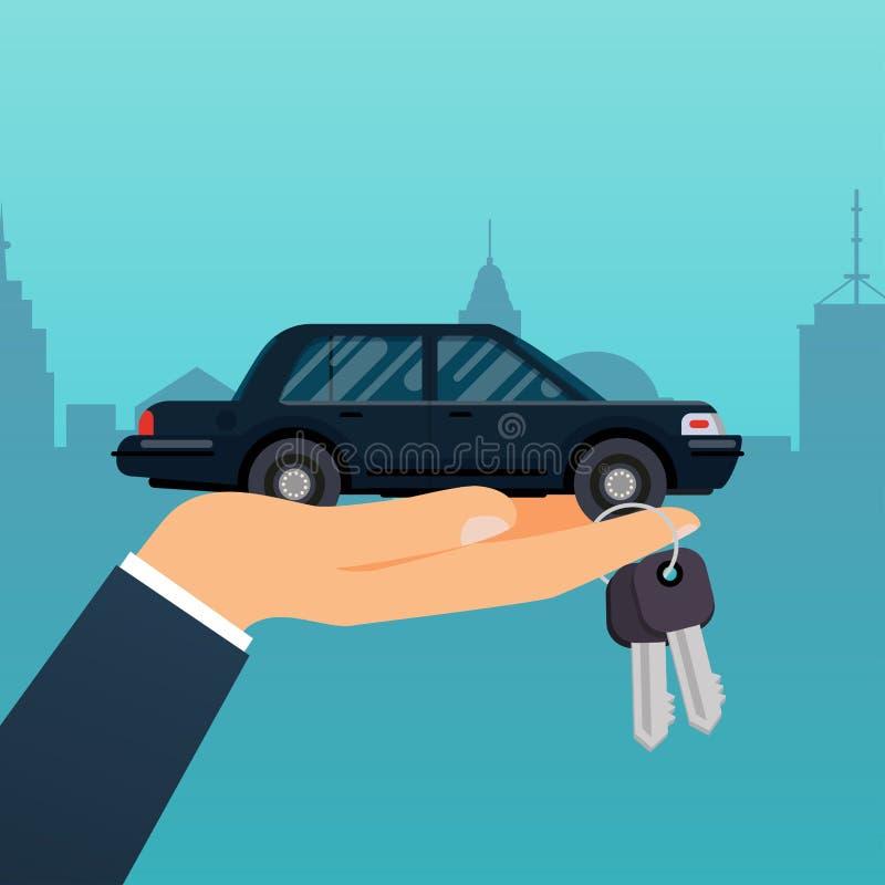 Рука продавца автомобиля держа ключевой к покупателю Продавать, арендующ или rentin иллюстрация штока