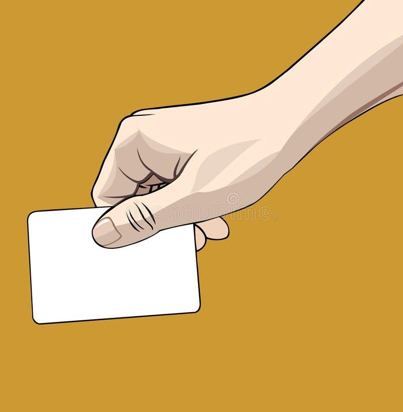 рука пустой карточки иллюстрация вектора