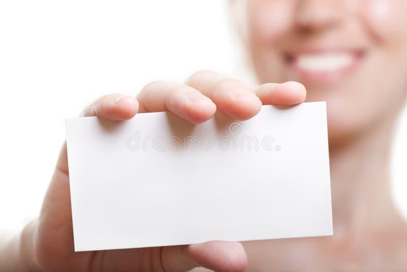 рука пустой карточки стоковое изображение