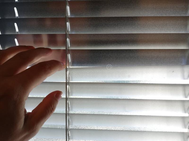 Рука раскрывает шторку для того чтобы шпионить стоковое изображение rf