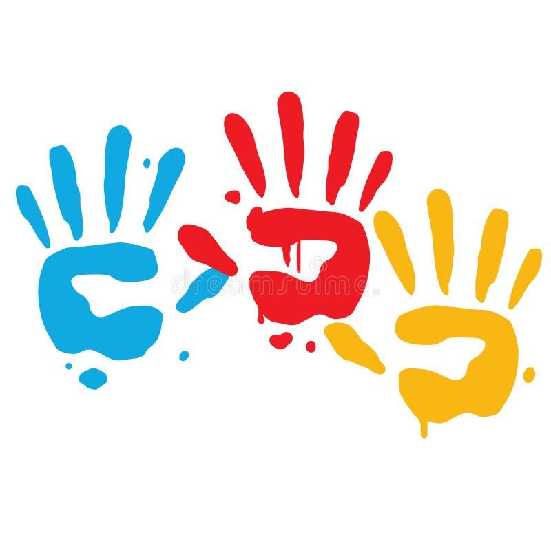 Рука ребенк шаловливая печатает вектор иллюстрация штока
