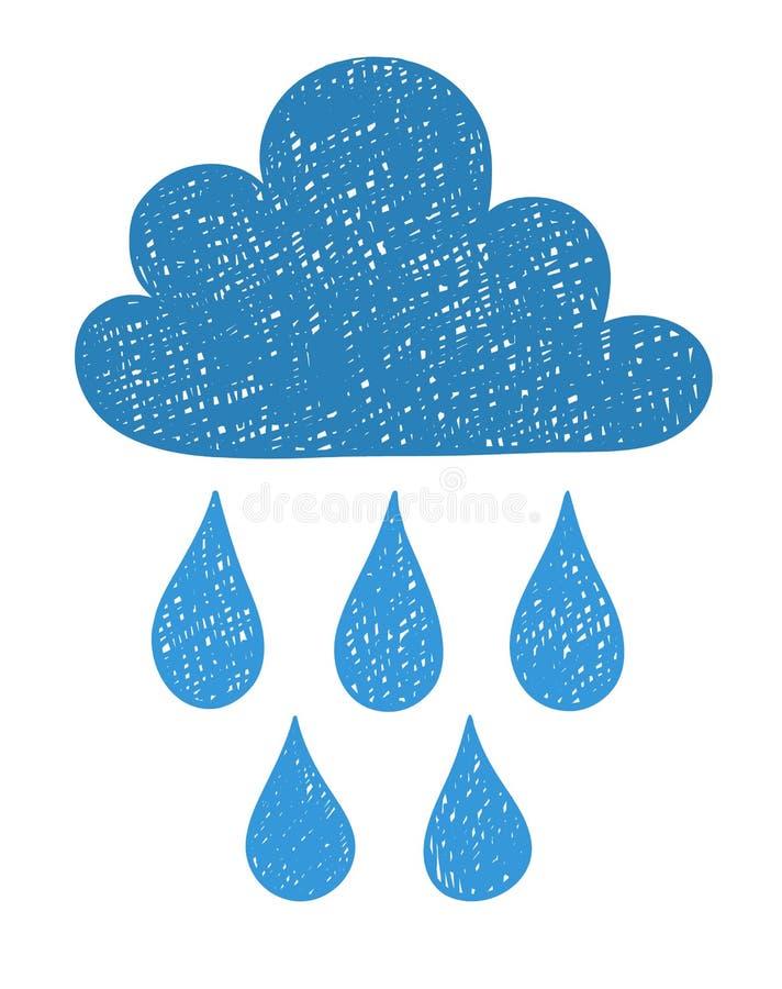 Рука рисует облако погоды Иллюстрация вектора стиля Scribble иллюстрация штока