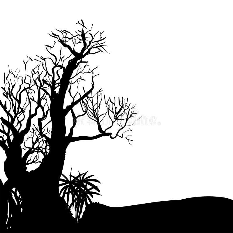 Рука рисуя иллюстрацию дерева 1-Vector хеллоуина иллюстрация штока