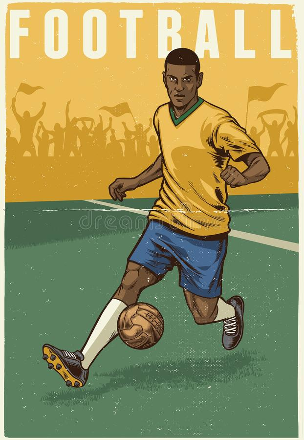 Рука рисуя ретро стиль футболиста иллюстрация штока
