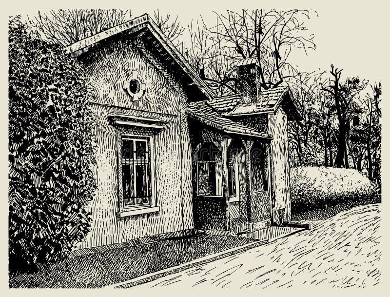Рука рисуя схематичный художнический ландшафт деревни иллюстрация вектора