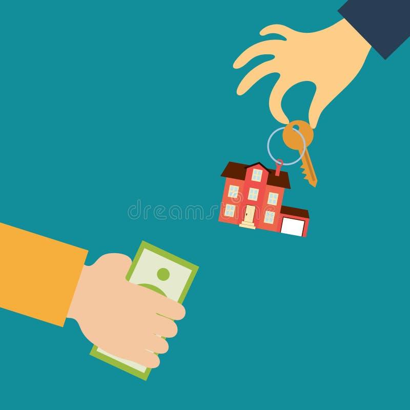Рука риэлтора держит вне ключ иллюстрация штока