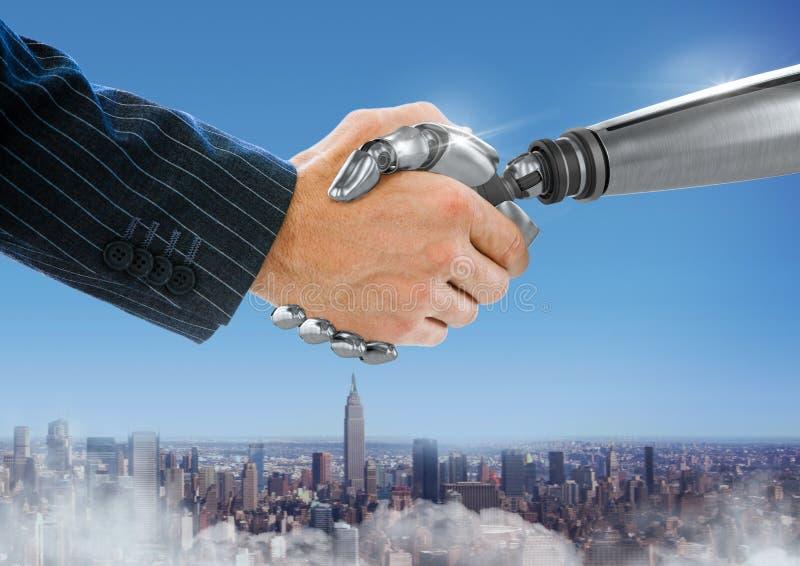 Рука робота андроида тряся руку бизнесмена с голубой предпосылкой города иллюстрация вектора