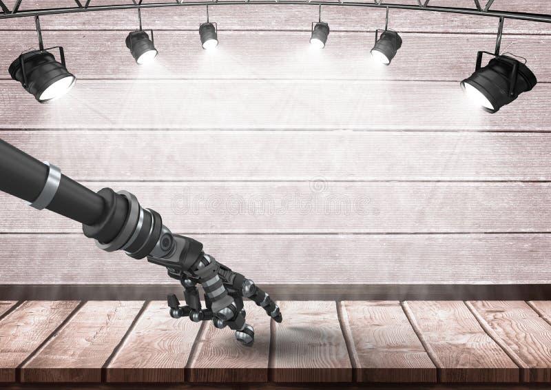Рука робота андроида указывая на древесину под фарами бесплатная иллюстрация
