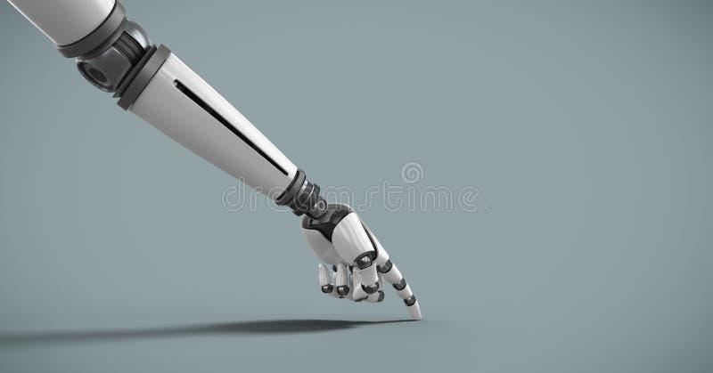 Рука робота андроида указывая с голубой предпосылкой иллюстрация вектора