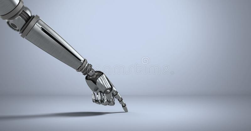 Рука робота андроида указывая с фиолетовой предпосылкой иллюстрация вектора