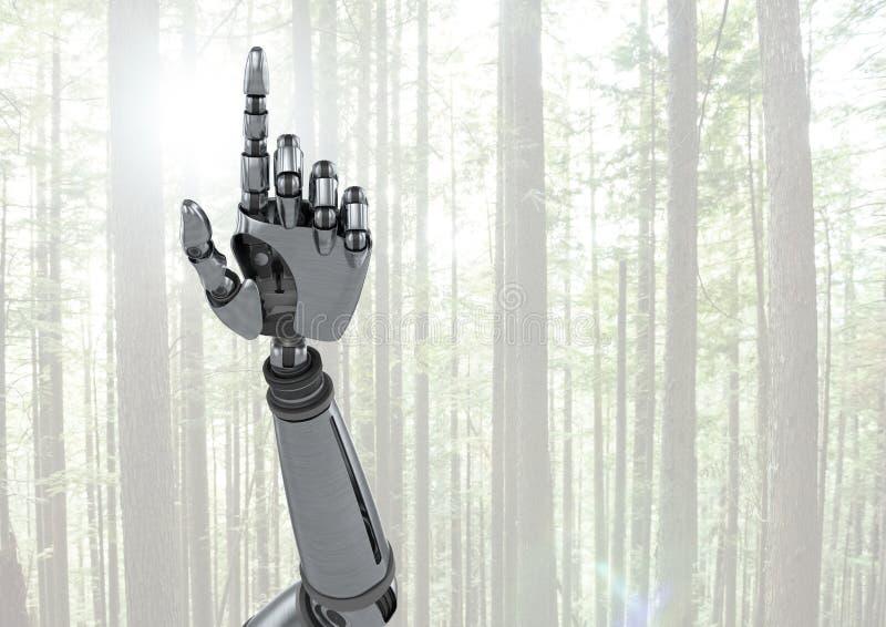 Рука робота андроида указывая с яркой предпосылкой леса стоковое изображение rf
