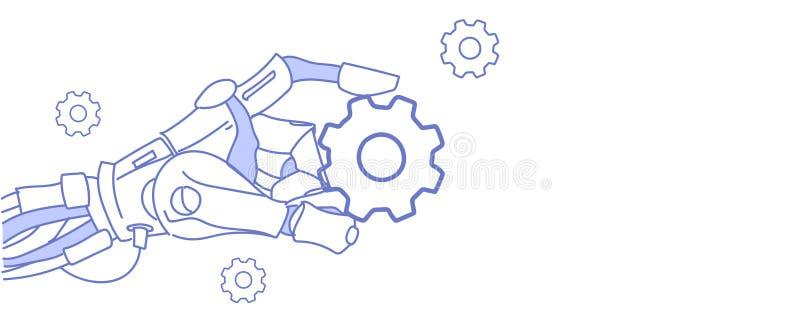 Рука робота держа doodle эскиза искусственного интеллекта концепции поддержки ремонта помощи колеса cog виртуальный горизонтальны иллюстрация штока