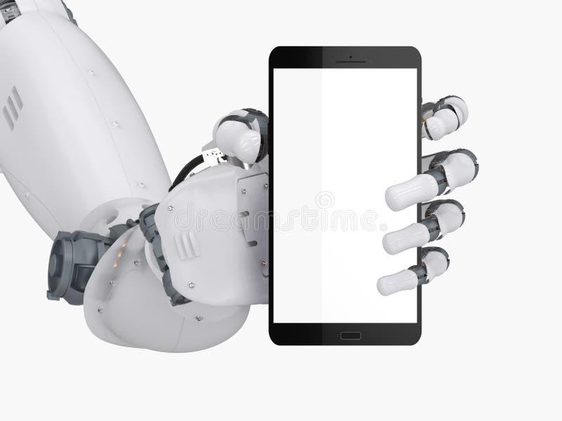 Рука робота держа мобильный телефон пустого экрана иллюстрация штока