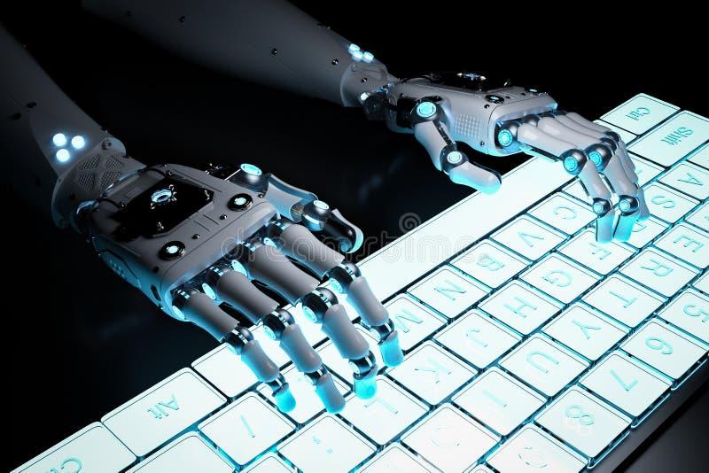 Рука робота с клавиатурой иллюстрация вектора