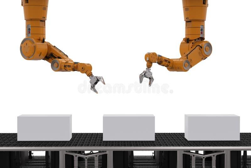 Рука робота с коробками бесплатная иллюстрация