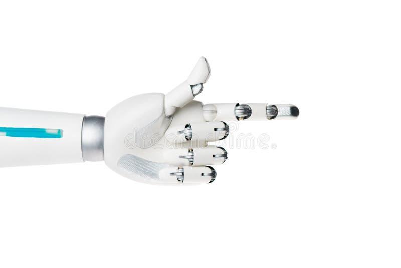 рука робота указывая на что-то изолированное на белизне стоковые фото