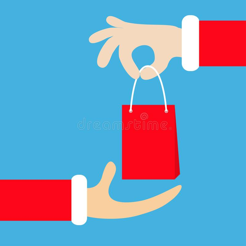 Рука Санта Клауса держа давать принимающ сумку подарка ходя по магазинам бумажную рождество веселое Красное мех костюма Дающ gift иллюстрация штока