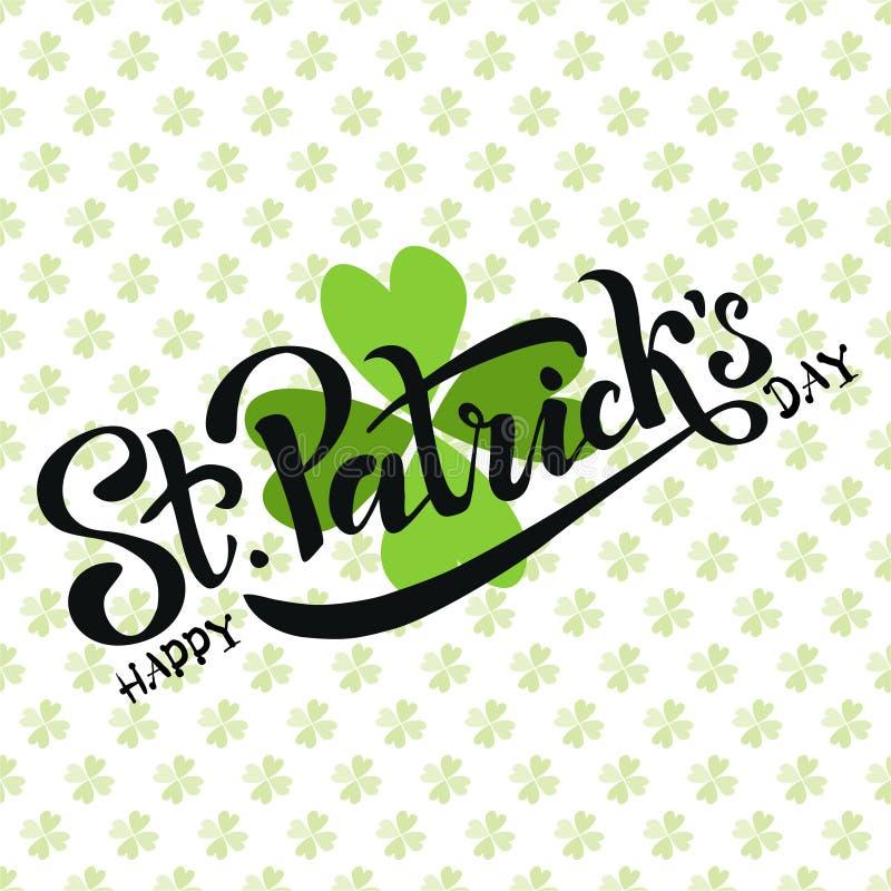 Рука сделала эскиз к ирландскому дизайну торжества Иллюстрация вектора логотипа дня счастливого St. Patrick Литерность фестиваля  бесплатная иллюстрация