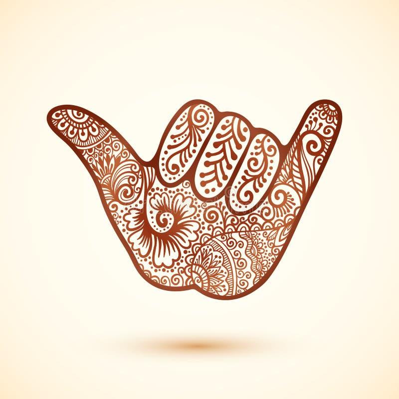 Рука серферов Shaka в индийском стиле татуировки хны бесплатная иллюстрация