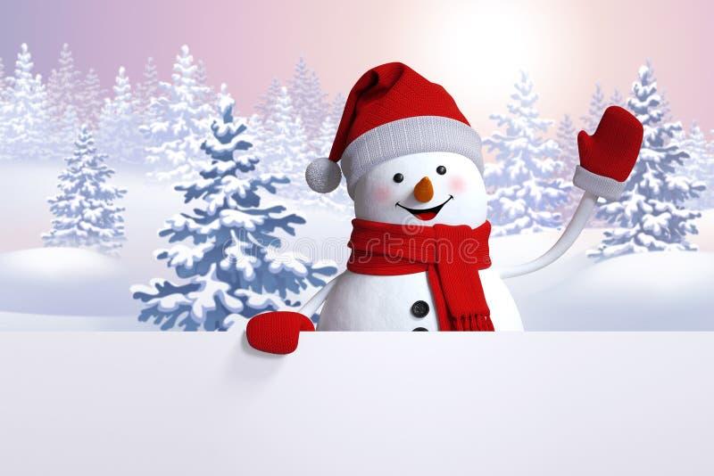 рука снеговика 3d развевая, рождественская открытка, предпосылка леса зимы иллюстрация штока