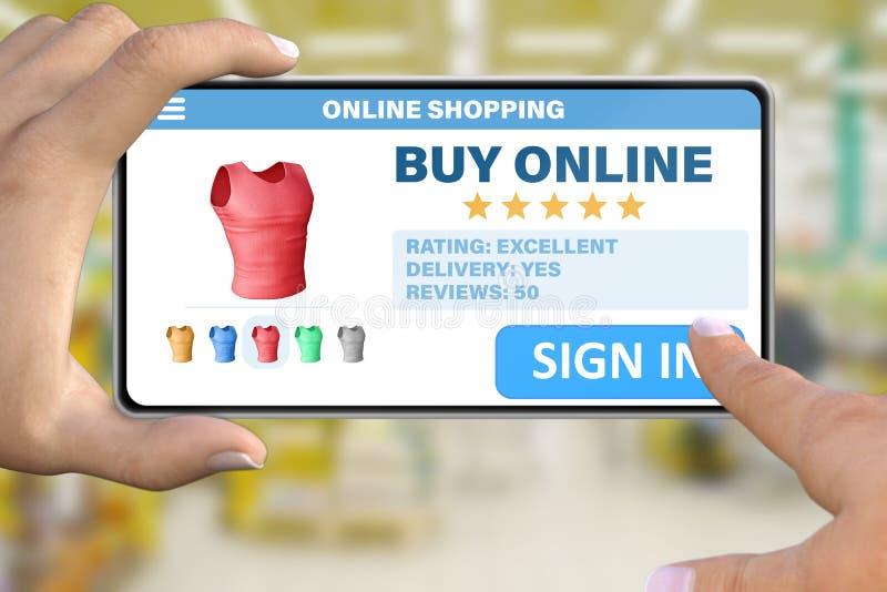 Рука со смартфоном выстукивая знак кнопки внутри на предпосылке торгового центра bokeh - онлайн ходя по магазинам концепции техно стоковое изображение