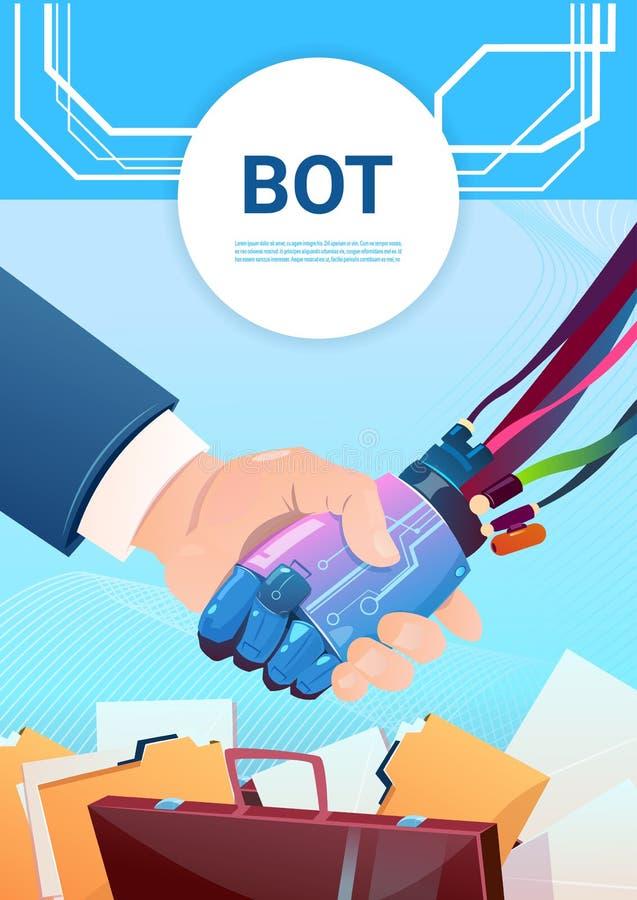 Рука средства болтовни тряся с помощью робота людей виртуальной вебсайта или передвижных применений, искусственного интеллекта иллюстрация штока