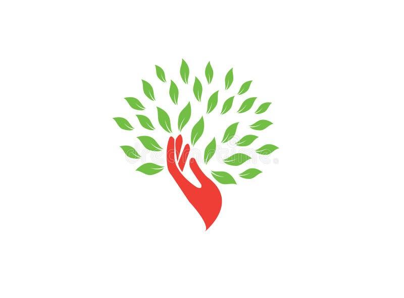 Рука ствола дерева и зеленый иллюстратор дизайна логотипа листьев, зн бесплатная иллюстрация