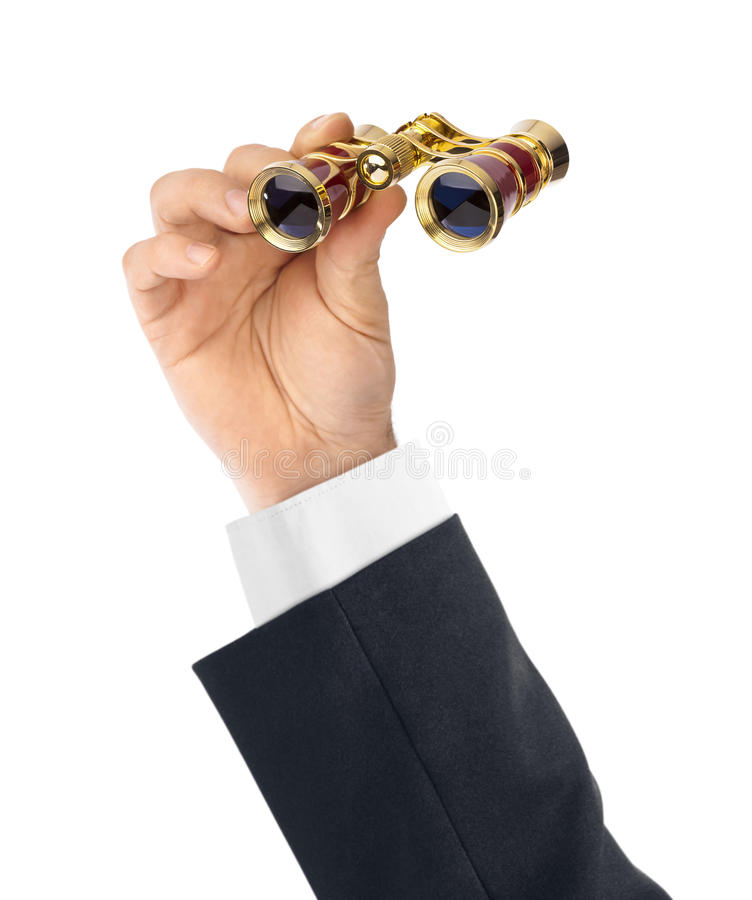 Рука с биноклями стоковое изображение rf