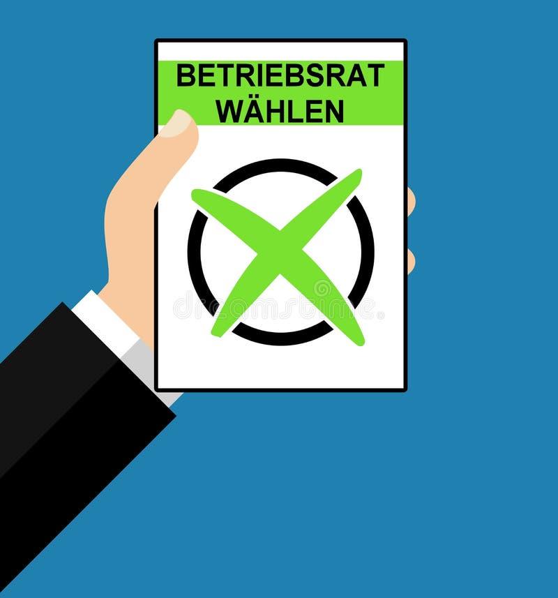 Рука с бумагой: Организация работника немецкая - плоский дизайн иллюстрация штока