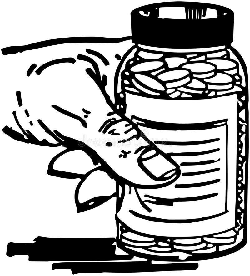 Рука с бутылкой пилюльки иллюстрация вектора