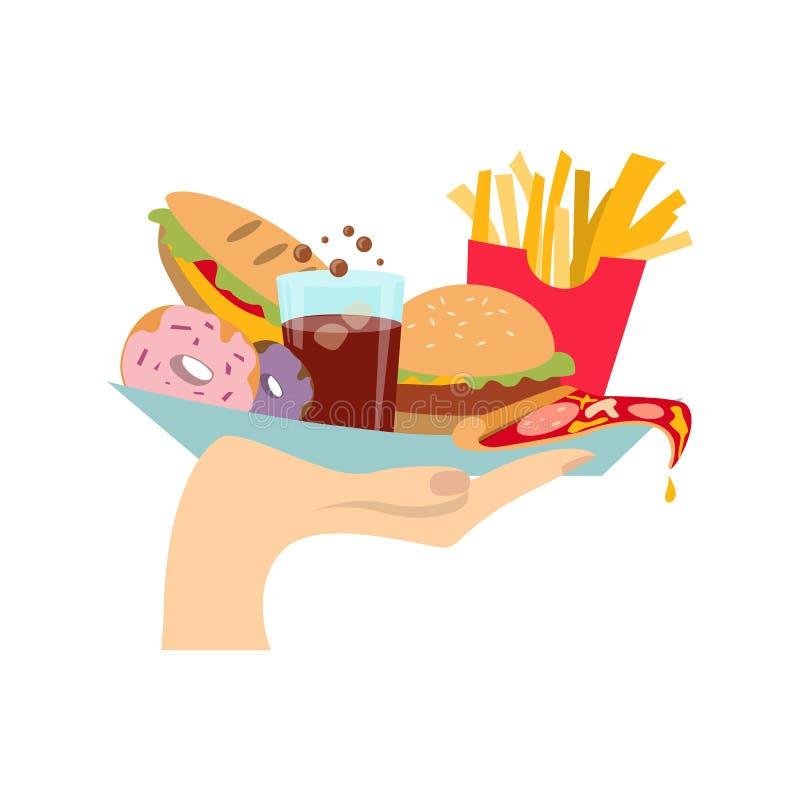 Рука с высококалорийной вредной пищей иллюстрация штока