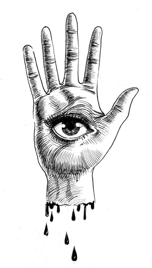 Рука с глазом иллюстрация штока