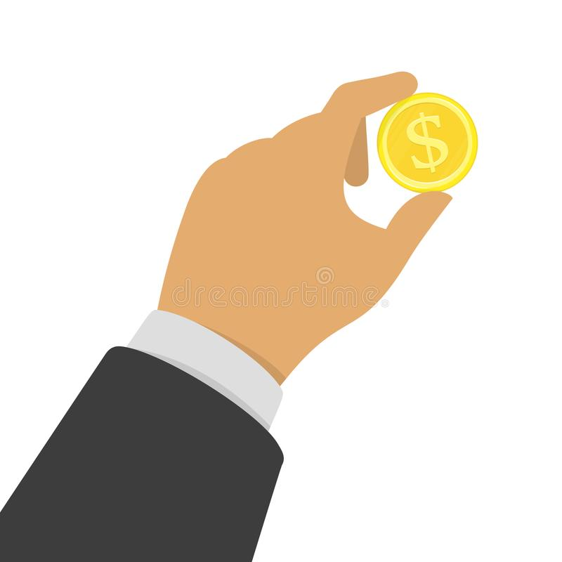Рука с золотой монеткой бесплатная иллюстрация