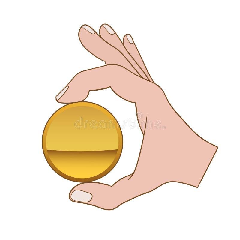 Рука с золотой монеткой иллюстрация штока