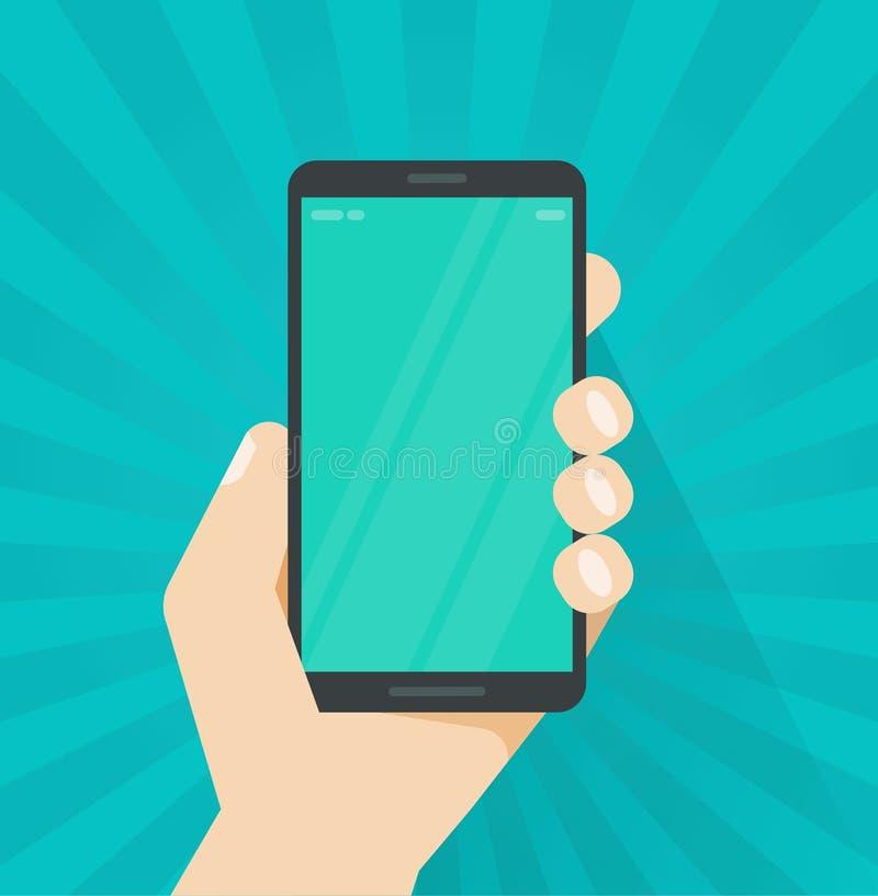 Рука с иллюстрацией вектора мобильного телефона, плоская рука персоны шаржа держа smartphone показывая экран мобильного телефона  иллюстрация вектора