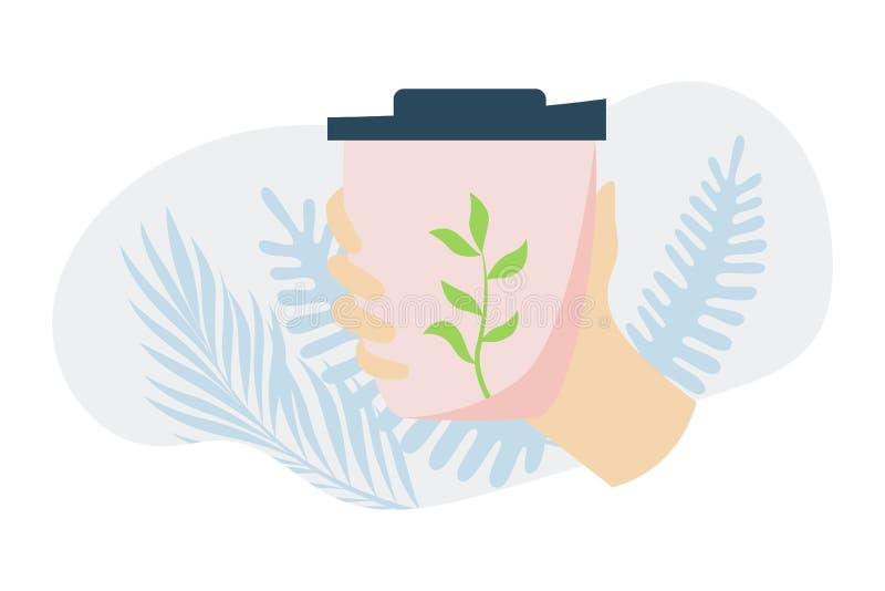 Рука с кофейной чашкой Примите вашу концепцию чашки Многоразовая чашка Концепция предохранения от экологичности Современная плоск иллюстрация штока