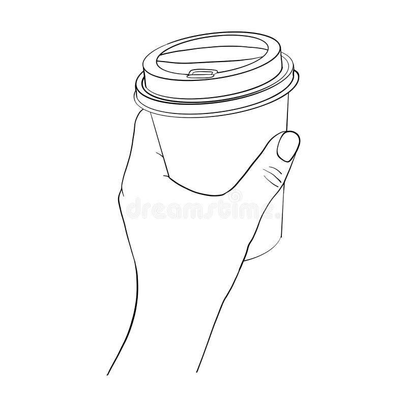 Рука с кофейной чашкой иллюстрация штока