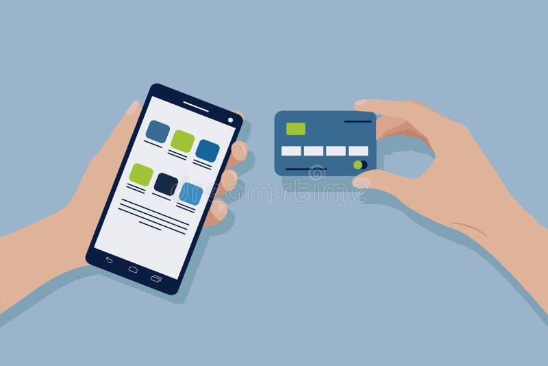 Рука с кредитной карточкой Рука с мобильным телефоном передвижная компенсация Приобретения оплаты онлайн иллюстрация штока