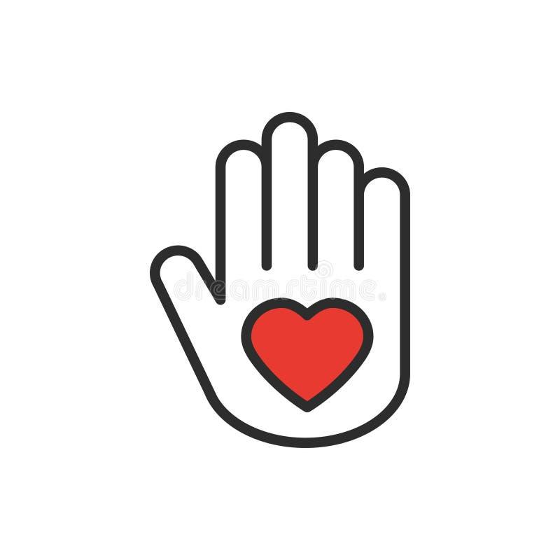 Рука с линией сердца значком Тема поддержки предохранения от заботы помощи волонтера призрения мира отношения влюбленности Знак м иллюстрация вектора