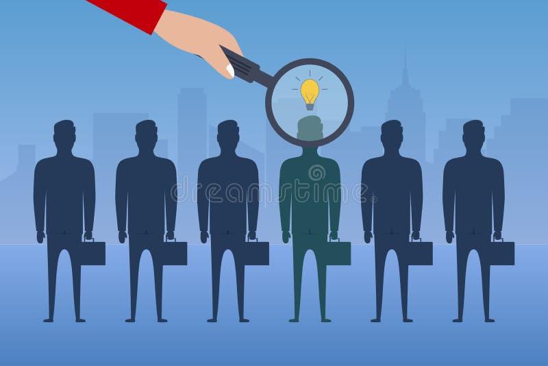 Рука с лупой выбирает работника с идеей от группы в составе бизнесмены Концепция рекрутства Нанимать дела бесплатная иллюстрация