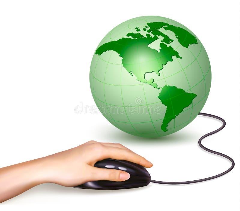 Рука с мышью компьютера и зеленым вектором глобуса иллюстрация вектора