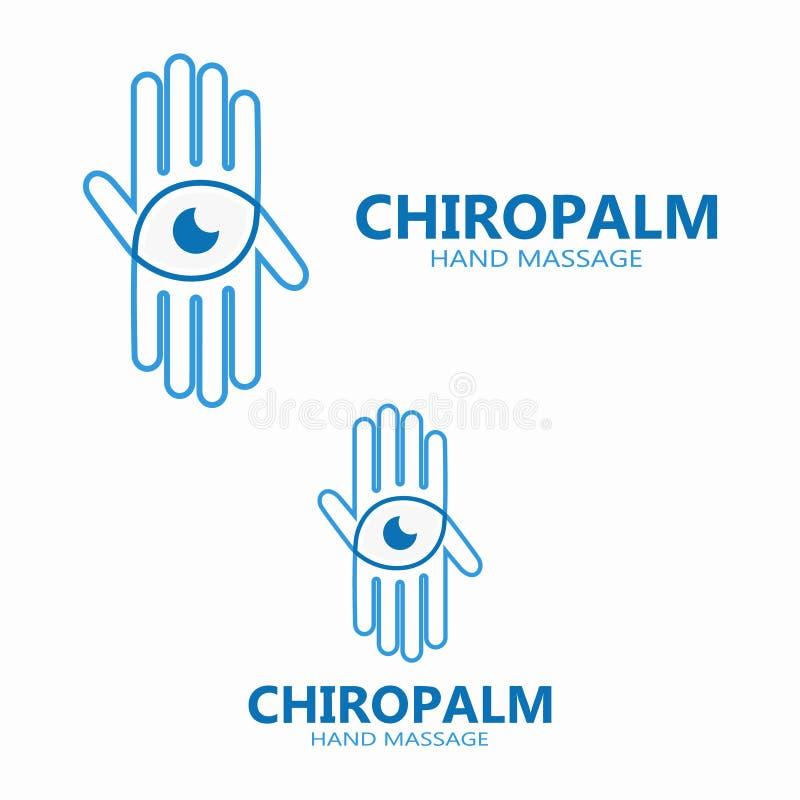 Рука с логотипом вектора глаза иллюстрация вектора