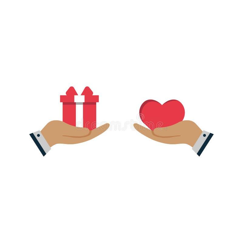 Рука с подарком и любовью Обмен подарка для сердца любовь концепции иллюстрация вектора