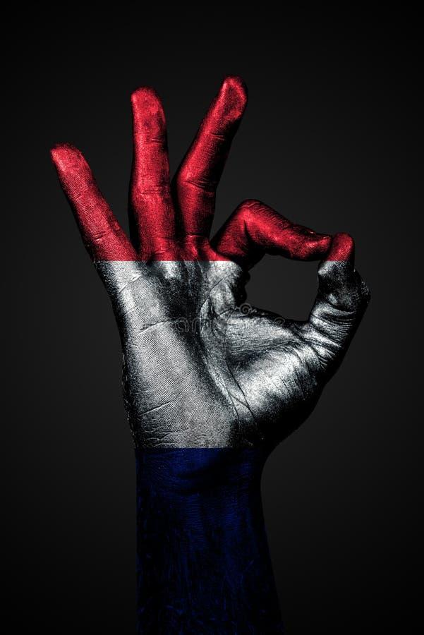 Рука с покрашенным флагом Франции показывает знак ОК на темной предпосылке стоковые изображения rf