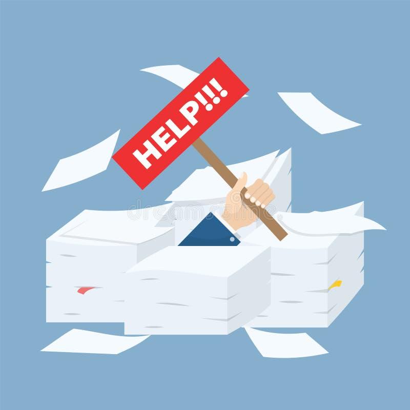 Рука с помощью доски в стогах печатных документов, концепция бизнесмена трудной деятельности, иллюстрации вектора запаса иллюстрация вектора