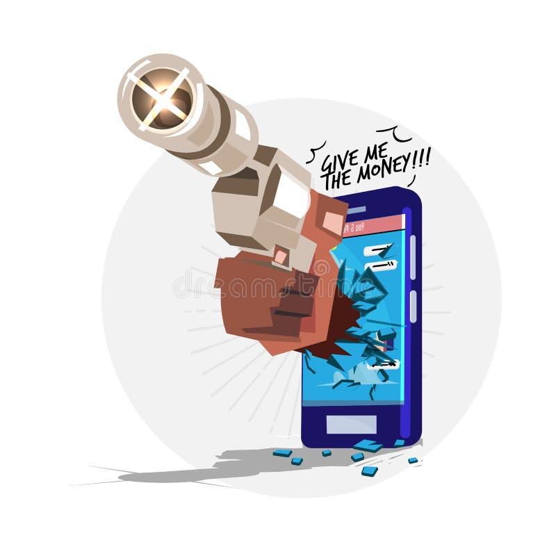 Рука с попыткой оружия к красть персональную информацию от вашего мобильного телефона хакер или концепция аферы - иллюстрация штока