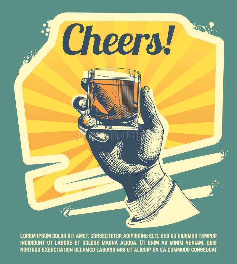 Рука с стеклом питья Ретро плакат партии вектора иллюстрация штока